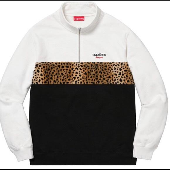 9e83dcd7ed240a Supreme Leopard Panel Half Zip Sweatshirt White